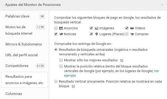 Posiciones resultados verticales de Google